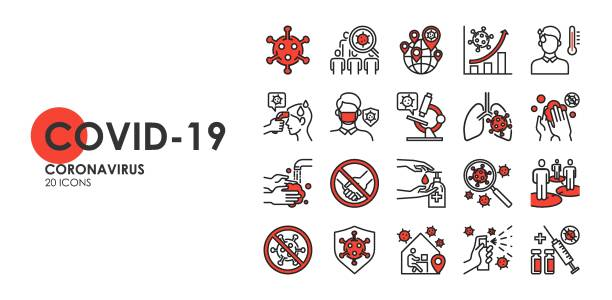 Set of Coronavirus disease COVID-19 Protection Related Vector Line Icons. Such as Covid-19 prevention, Coronavirus Symptoms, Covid outbreak, Social distancing, vector icon vector art illustration