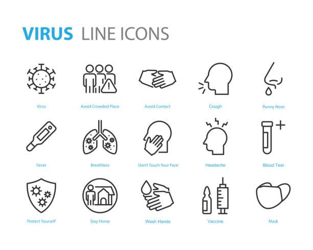 bildbanksillustrationer, clip art samt tecknat material och ikoner med uppsättning coronavirusikoner, virus, ncov-2019, sjukdom, sjukdom, sjukdom - corona test