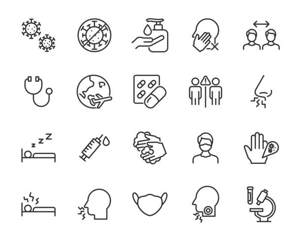 coronavirus simgeleri kümesi, virüs, ncov-2019, hastalık, hastalık, hastalık - covid testing stock illustrations