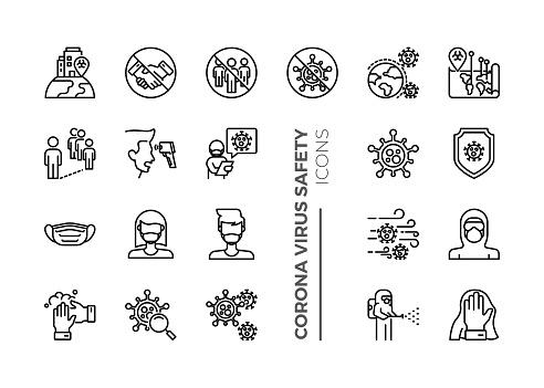 Set of Coronavirus Safety Related Line Icons