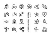 Simple Set of Coronavirus Safety Related Vector Line Icons. Contains such Icons as Washing Hands, Outbreak Map, Man and Woman Wearing Face Mask and more.
