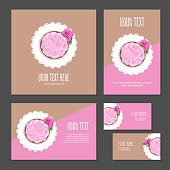 Set corporate style elements with dessert. Template cover brochure, booklet and business card for restaurant, cafe or pastry shop. Cake with pink  cream and flower on white napkin