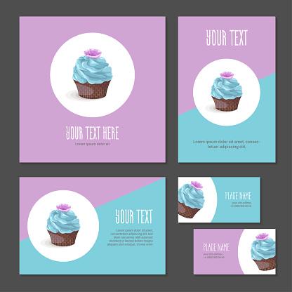 Set of corporate branding cake with cream
