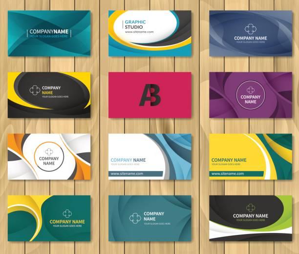 Set of corporate business card bundle. Set of corporate business card bundle. Vector illustration. business cards templates stock illustrations