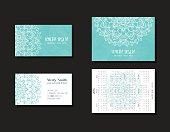 Set of corporate business cards and calendars 2016 for company, resort and spa. Doodle background for marketing. Identity elements for professionals. Half mandala ornament. Vector illustration.