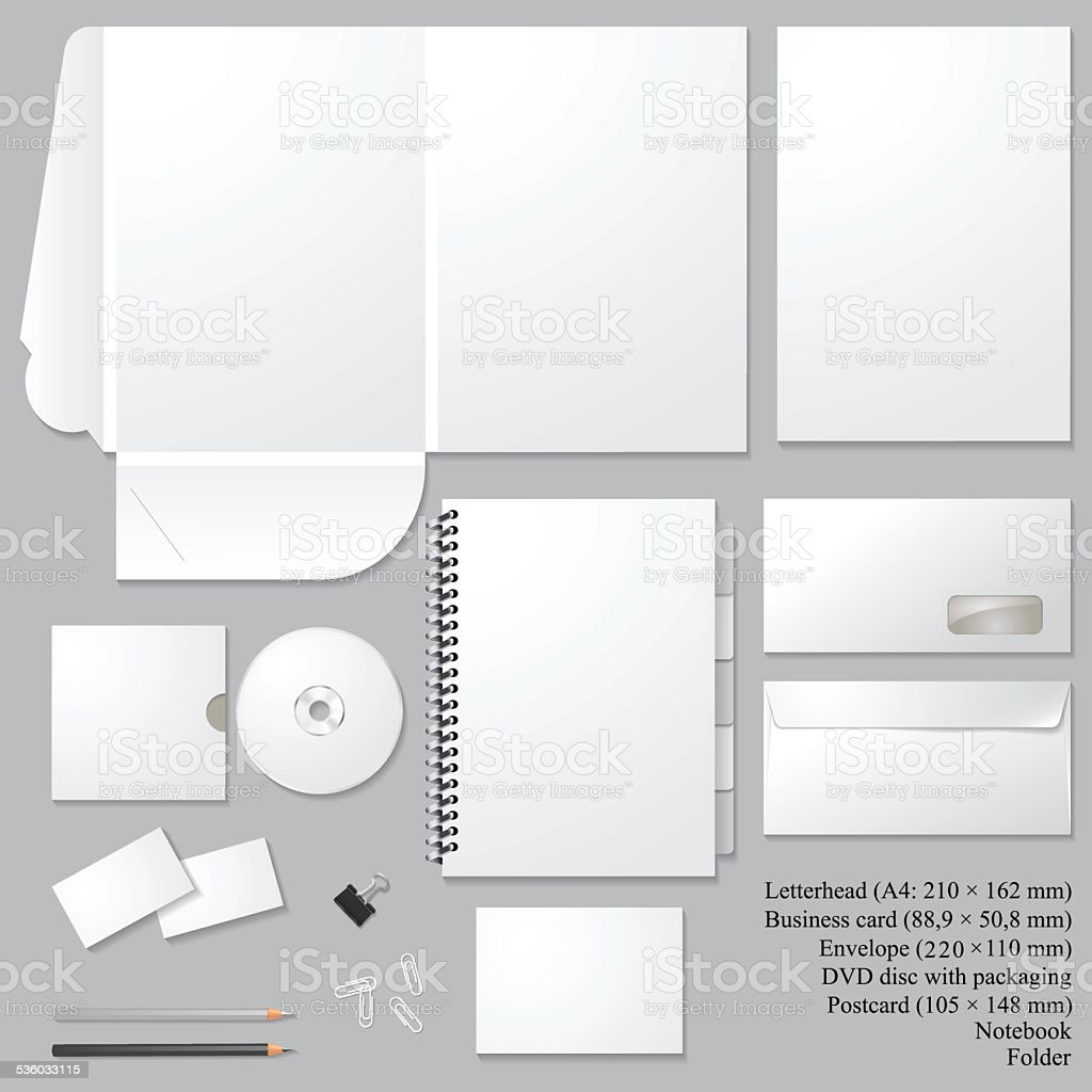 Set of corporate identity templates  isolated on gray background vector art illustration