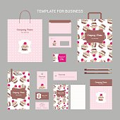 Set of corporate identity for confectionery, shop, cafe or restaurant, cake with cream and rose in brown wrapping with stripes and on pink background, vintage branding business template, vector