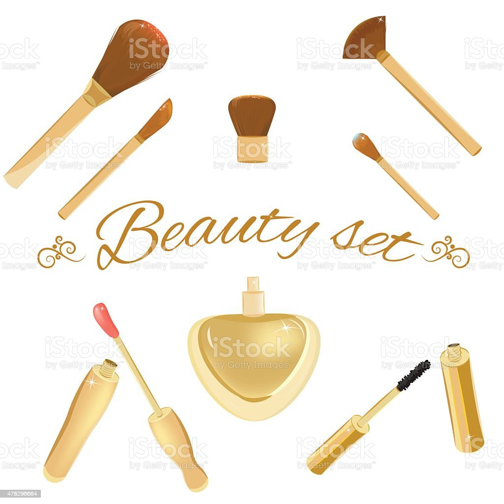 Set of cosmetic brushes, mascara, lipgloss and perfume bottle vector art illustration