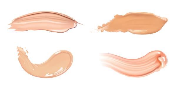 stockillustraties, clipart, cartoons en iconen met set van cosmetische vloeibare foundation of karamel crème in andere kleur natte uitstrijkje lijnen. make-up uitstrijkjes geïsoleerd op een witte achtergrond. - bevlekt