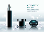 Set of cosmetic products and perfumes for men. 3D various black aerosol bottles, body lotion and perfume on silver background. Collagen solution and vitamins
