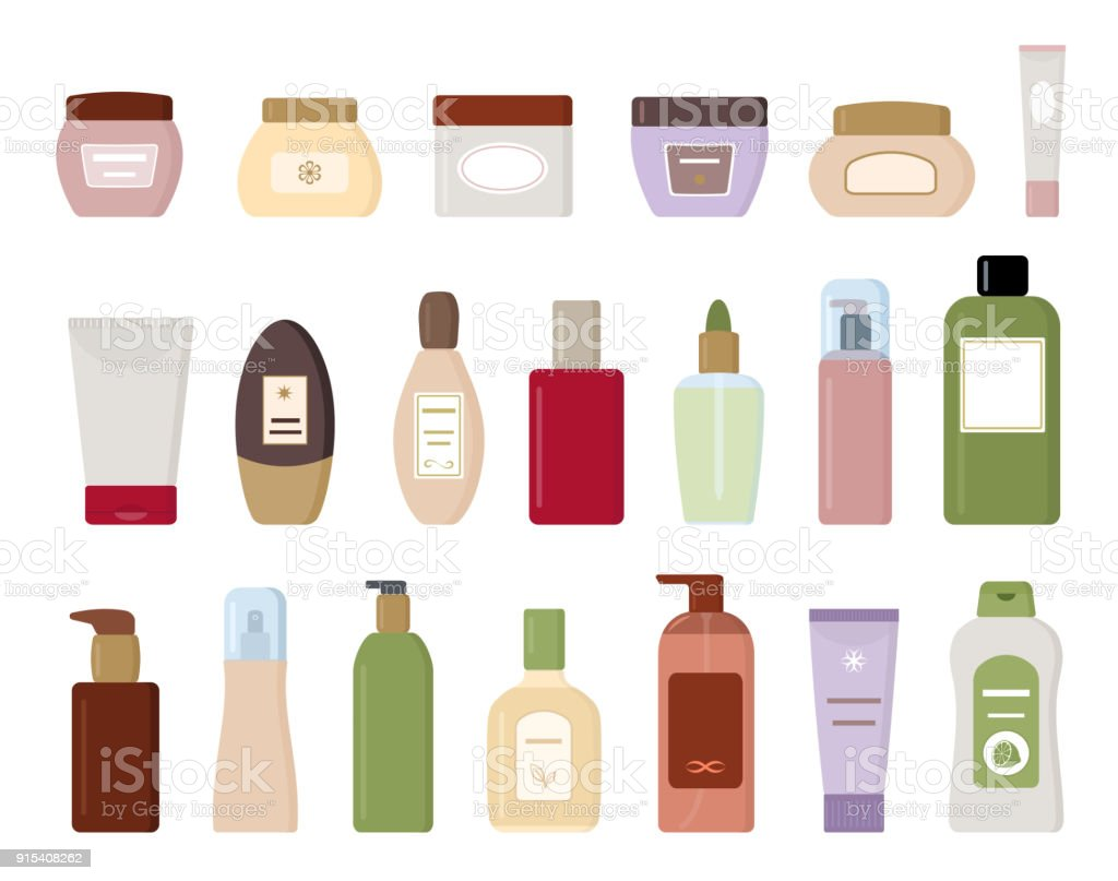 Set of cosmetic products isolated on white background. vector art illustration