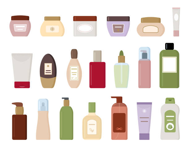 set of cosmetic products isolated on white background. - sun cream stock illustrations