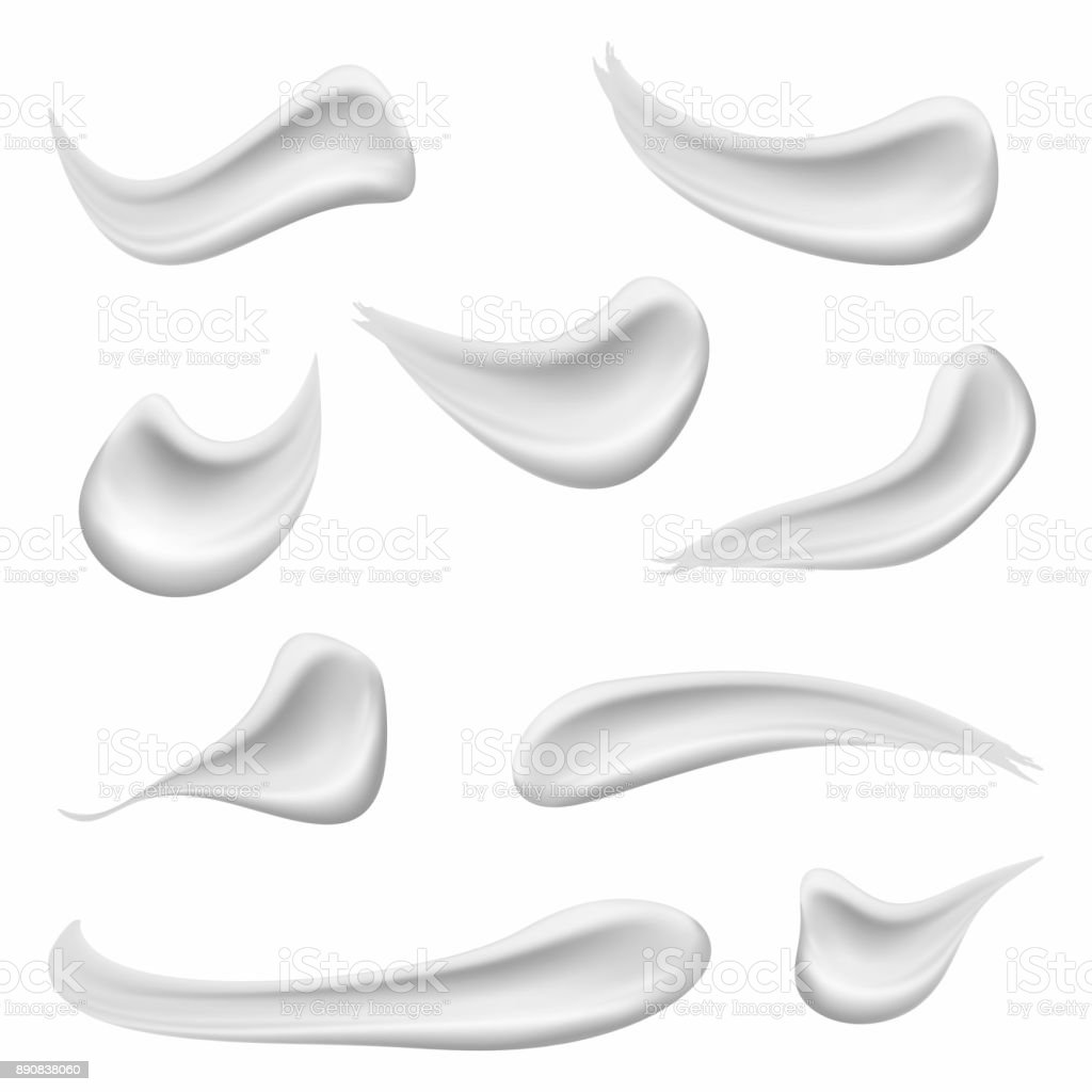 Set of cosmetic white cream texture. Realistic skin cosmetic cream, gel or foam drop isolated on white background vector art illustration