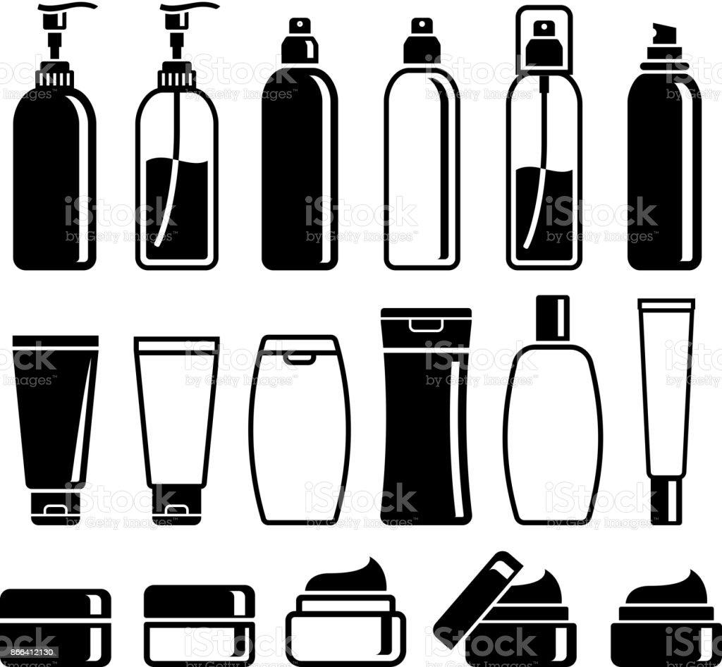 Set of cosmetics bottles. Vector illustrations. vector art illustration