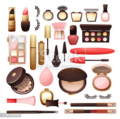 Set of cosmetics in flat style, vector illustration isolated on white.