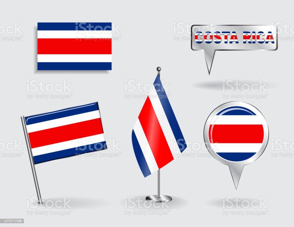 Conjunto de pinos de Costa Rica, ícone pointer Bandeiras e mapas - ilustração de arte em vetor