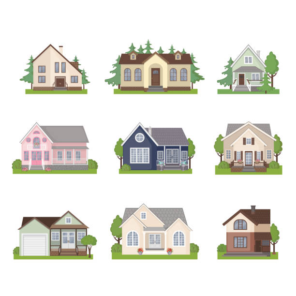 set of cottage house icons in flat style. - suburbs stock illustrations