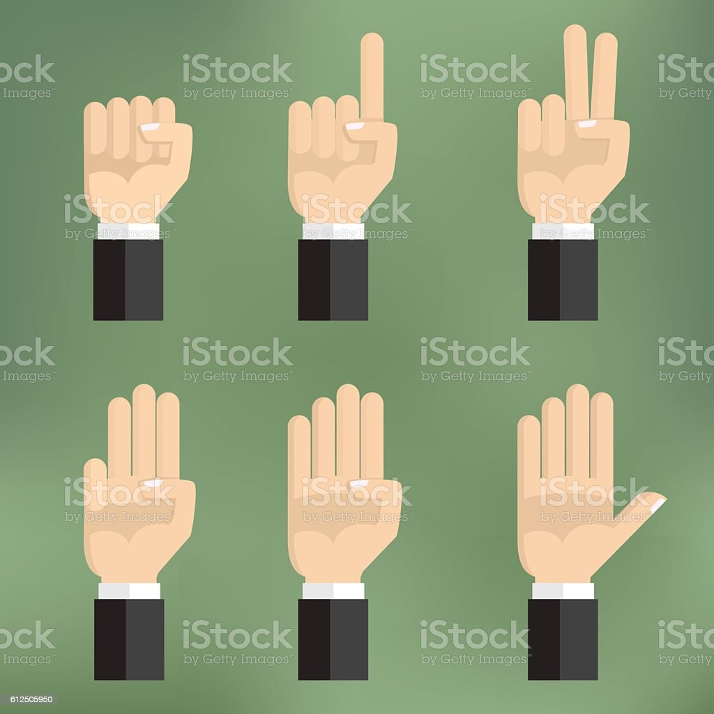 Set of counting hand sign from one to five. vector art illustration