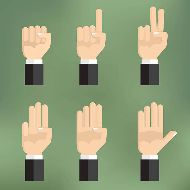 Set of counting hand sign from one to five. Set of counting hand sign from one to five. Vector illustration on colorful background flat design. human finger stock illustrations
