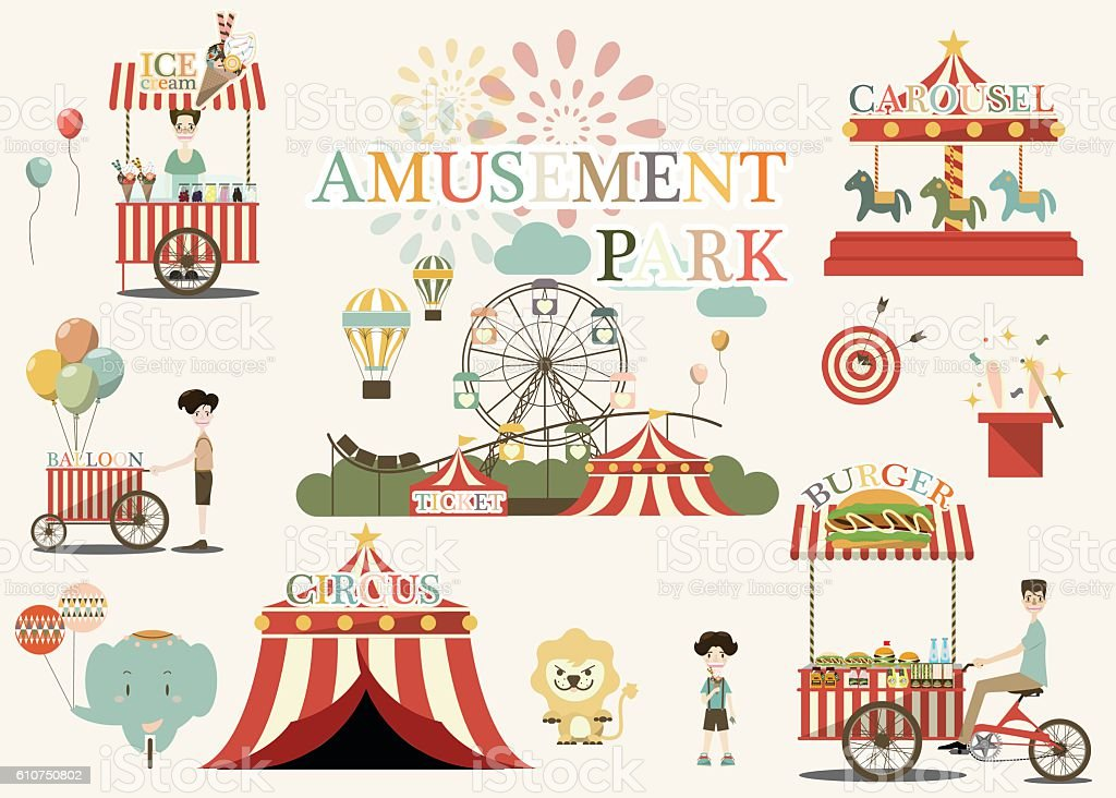 Set of country fair,amusement park,circus objects vector illustration ベクターアートイラスト