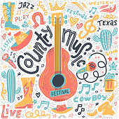 istock Set of Country music elements for postcards or festival banners. Vector hand drawn illustration in flat doodle style. Guitar with written lettering. 1181446539