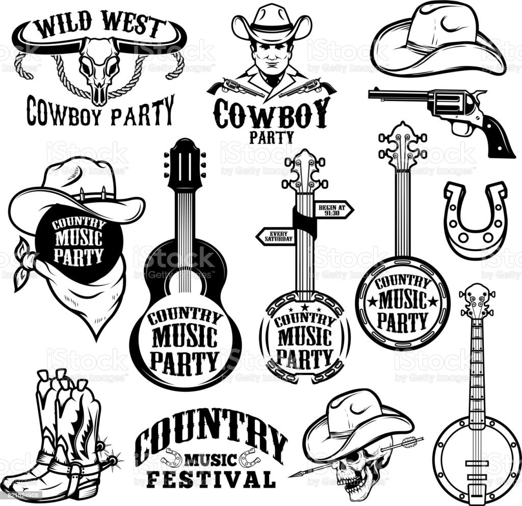 Set of country music festival emblems and design elements. Cowboy party. Vector illustration vector art illustration