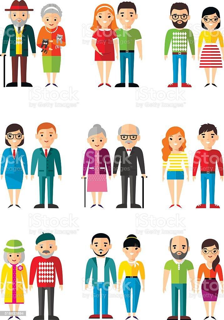 Conjunto de casal de jovens, as pessoas de idades diferentes, maturidade, idade. - ilustração de arte em vetor