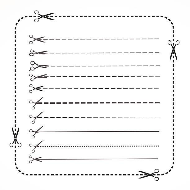 set of Coupon border set of Coupon border on white background hyphen stock illustrations