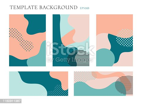 Set of cover brochure and banner web template background. Seamless patterns pastels color. Geometric fluid shapes trendy layout with space for text. Vector illustration