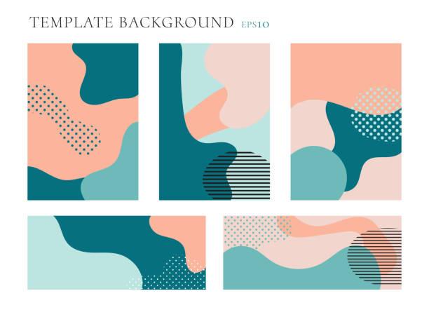 커버 브로셔 및 배너 웹 템플릿 배경 세트. 완벽 한 패턴 파스텔 색상입니다. 기하학적 유체 모양 텍스트 공간을 가진 유행 레이아웃. - 모양 stock illustrations