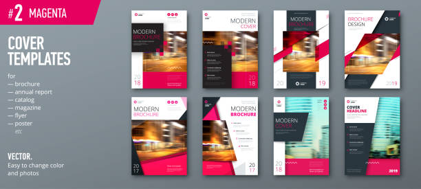 set of cover design template for brochure, report, catalog, magazine or booklet. creative magenta vector background concept - annual reports templates stock illustrations