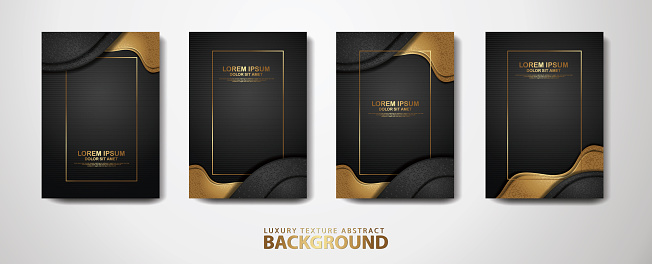 Set of cover design template with overlap layers background with glitters effect and realistic on textured dark background