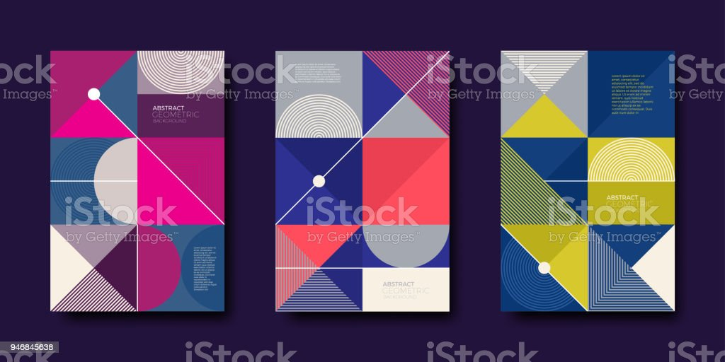 Set of cover design with simple abstract geometric shapes