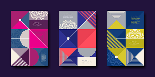 Set Of Cover Design With Simple Abstract Geometric Shapes Stock Illustration - Download Image Now