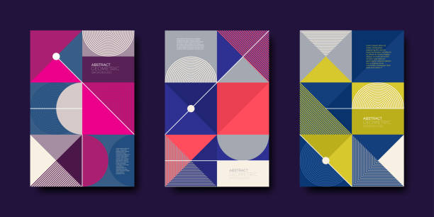 set of cover design with simple abstract geometric shapes - annual reports templates stock illustrations