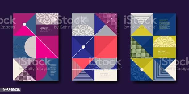 Set Of Cover Design With Simple Abstract Geometric Shapes - Arte vetorial de stock e mais imagens de Abstrato