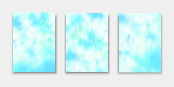Set of cover templates. Hand painted psychedelic tie dye blurred background. Vector illustrations for flyers, posters and placards design.