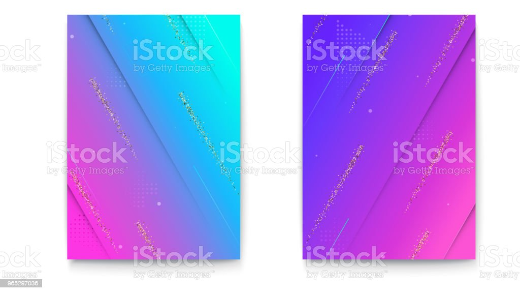 Set of covers with geometric colored shapes and glitter strips. Background with abstract pattern, shapes for banners brochure, layout, 3D illustration. Vector template of poster royalty-free set of covers with geometric colored shapes and glitter strips background with abstract pattern shapes for banners brochure layout 3d illustration vector template of poster stock vector art & more images of abstract