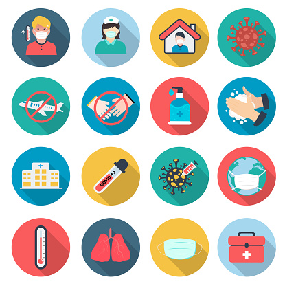 Set of Covid-19 Prevention Flat design icons.vector illustration