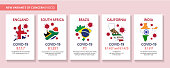 Vector illustration of a Covid-19 Variant web banner design template with placement text and origin areas of the virus mutation. Easy to edit vector template. Includes flags and maps of areas. Download includes vector eps 10 and high resolution jpg.