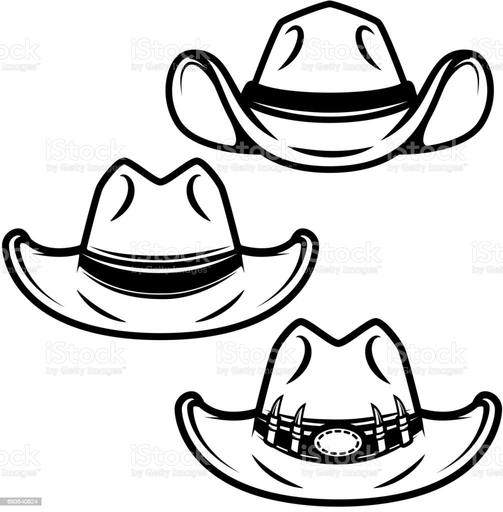 Set of cowboy hats isolated on white background. Design element for label, emblem, sign. Vector illustration vector art illustration