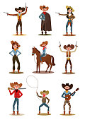 Collection set of cartoon characters of cowboys and cowgirls in different poses and actions with guns, banjo and on the horse. Colorful vector flat isolated icons set on white background