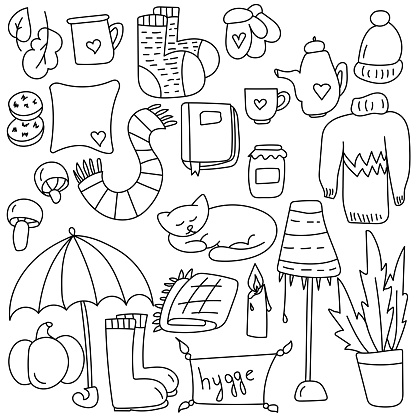 Set of cozy doodles in hygge style, home warm clothes and interior items, coloring page