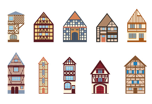 Set of cozy half-timbered houses isolated on a white background Collection of old German and French houses Illustration in a flat cartoon style