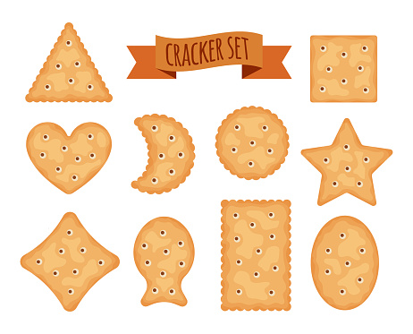 Set of cracker chips different shapes isolated on white background. Biscuit cookies for breakfast, tasty snack, yummy crackers - vector illustration.
