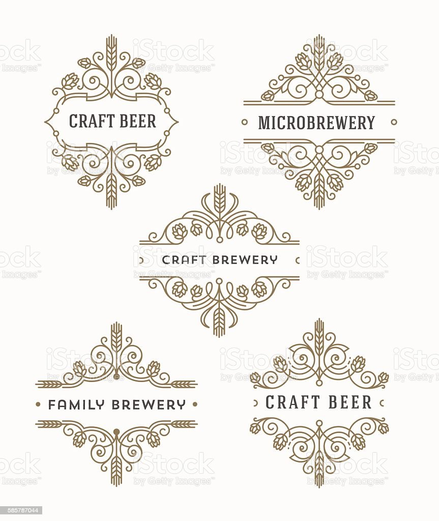 Set of craft beer and microbrewery flourishes emblems and logo vector art illustration