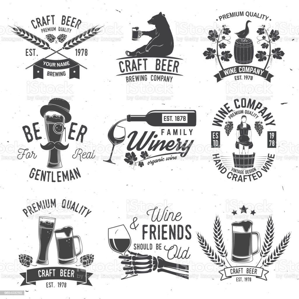 Set of Craft Beer and Winery company badge, sign or label. Vector illustration royalty-free set of craft beer and winery company badge sign or label vector illustration stock vector art & more images of advertisement