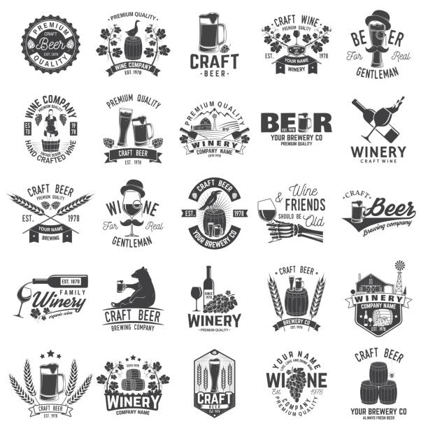 Set of Craft Beer and Winery company badge, sign or label. Vector illustration vector art illustration