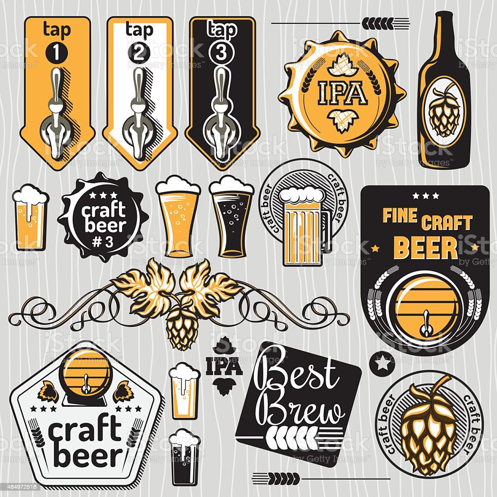 Set of craft beer emblems and design elements vector art illustration