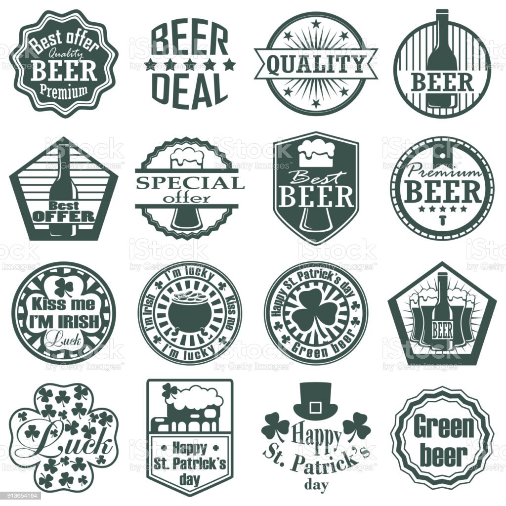 Set Of Craft Beer Label And Symbol Graphic Design With Illustration